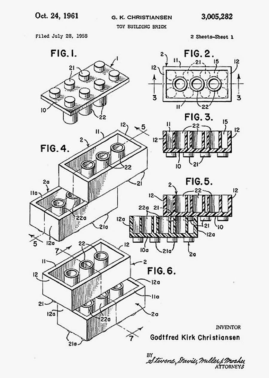 Original Patent For The Lego Brick By Ole Kirk Christiansen